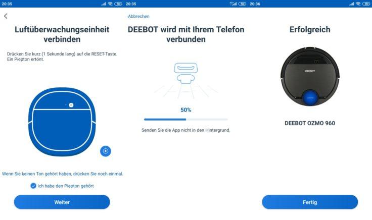 Ecovacs Deebot Ozmo 960 Saugroboter App WLAN-Verbindung