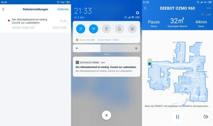 Ecovacs Deebot Ozmo 960 Saugroboter App fortgesetzte Reinigung