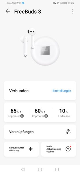 Hauwei AI Life App FreeBuds 3 Uebersicht