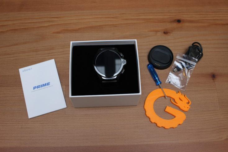 Kospet Prime 4G Smartwatch mit Zubehör.