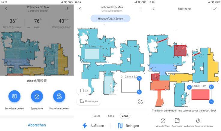 Roborock S5 Max Saugroboter App No-Go-Zonen virtuelle Wände