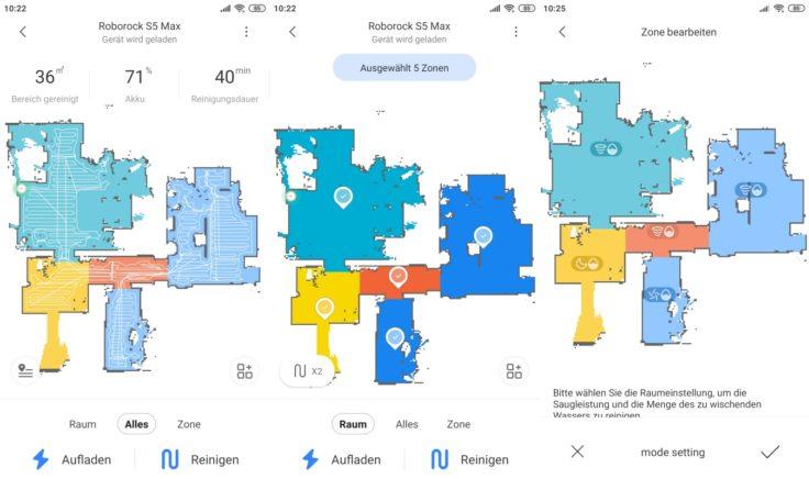 Roborock S5 Max Saugroboter App Raumeinteilung