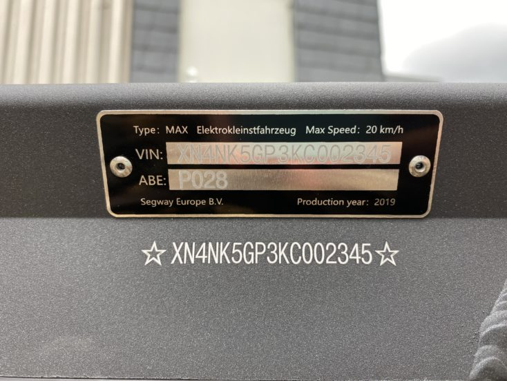 Segway-Ninebot MAX G30D ABE-Plakette