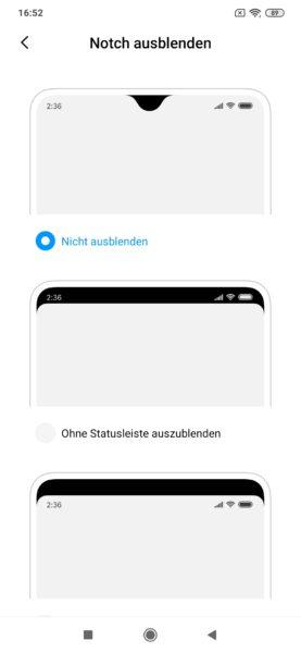 Xiaomi Mi Note 10 MIUI Notch Einstellungen