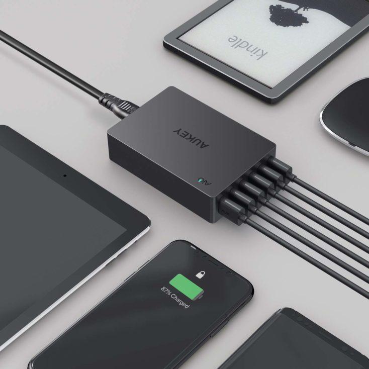 AUKEY 60W USB Ladegeraet 6 Ports
