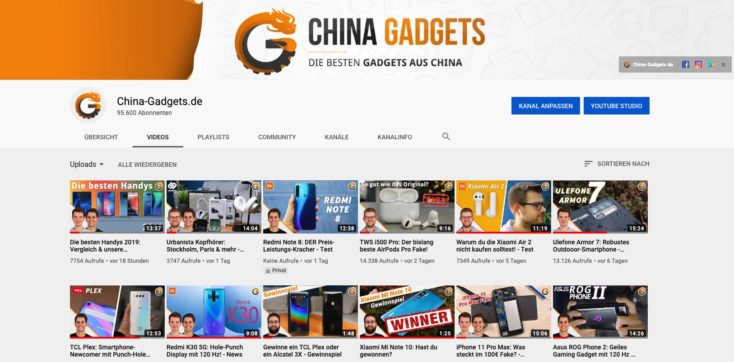 China Gadgets YouTube Kanal