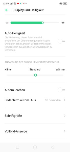 Realme 5 Pro Displayeinstellungen
