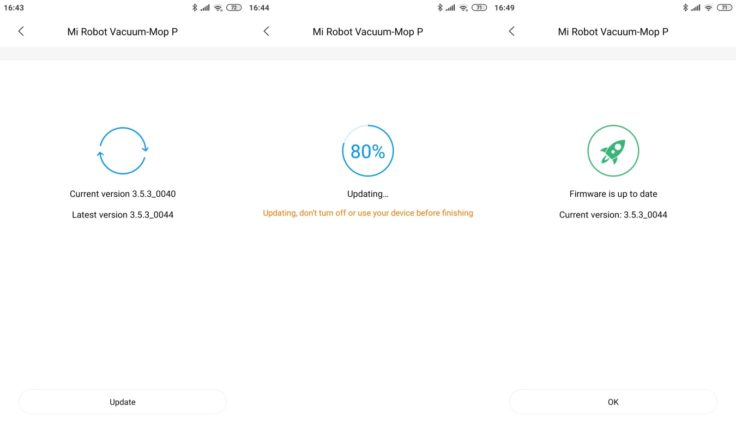 Xiaomi Mijia LDS Saugroboter Xiaomi Home App Firmware-Updates