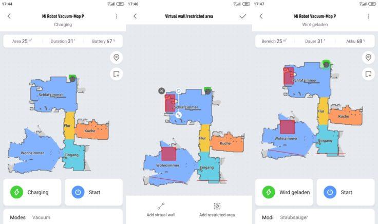Xiaomi Mijia LDS Saugroboter Xiaomi Home App No-Go-Zonen virtuelle Wände
