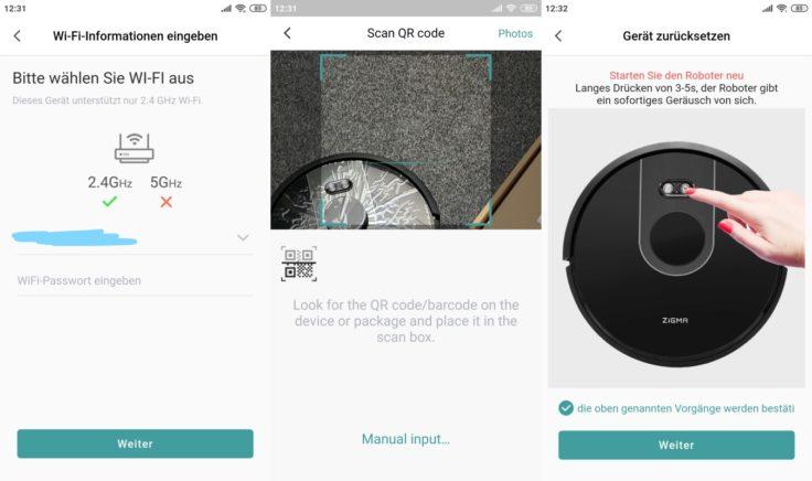 Zigma Spark 980 Saugroboter App Einbindung WLAN