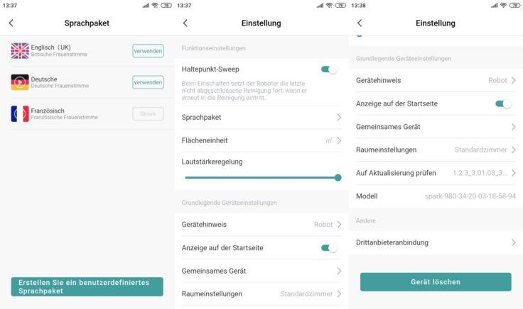 Zigma Spark 980 Saugroboter App Einstellungen