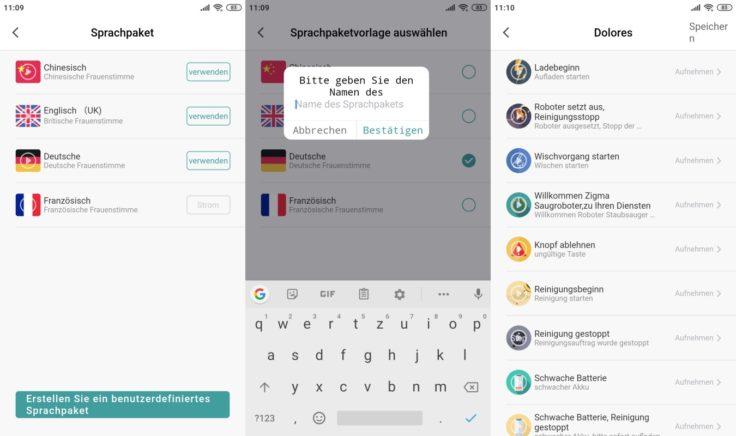 Zigma Spark 980 Saugroboter App Einstellungen Sprachpaket