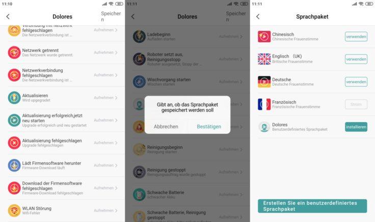 Zigma Spark 980 Saugroboter App Einstellungen Sprachpaket benutzerdefiniert speichern