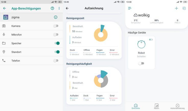 Zigma Spark 980 Saugroboter App Statistiken