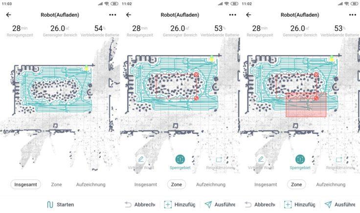 Zigma Spark 980 Saugroboter Mapping virtuelle Wände