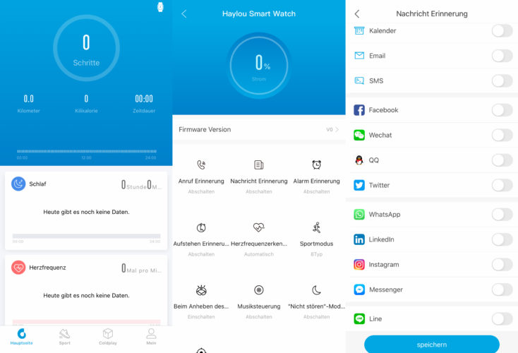 Haylou Smartwatch App Ubersicht