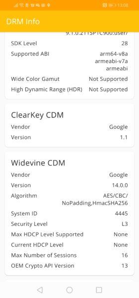 Huawei P30 Lite NE DRM Info