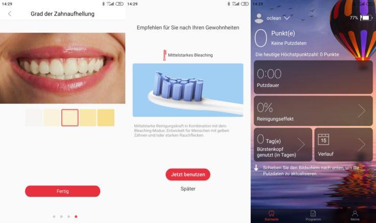 Oclean Z1 elektrische Zahnbuerste App Daten Einstellungen