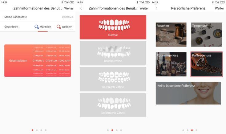Oclean Z1 elektrische Zahnbuerste App Daten eingeben