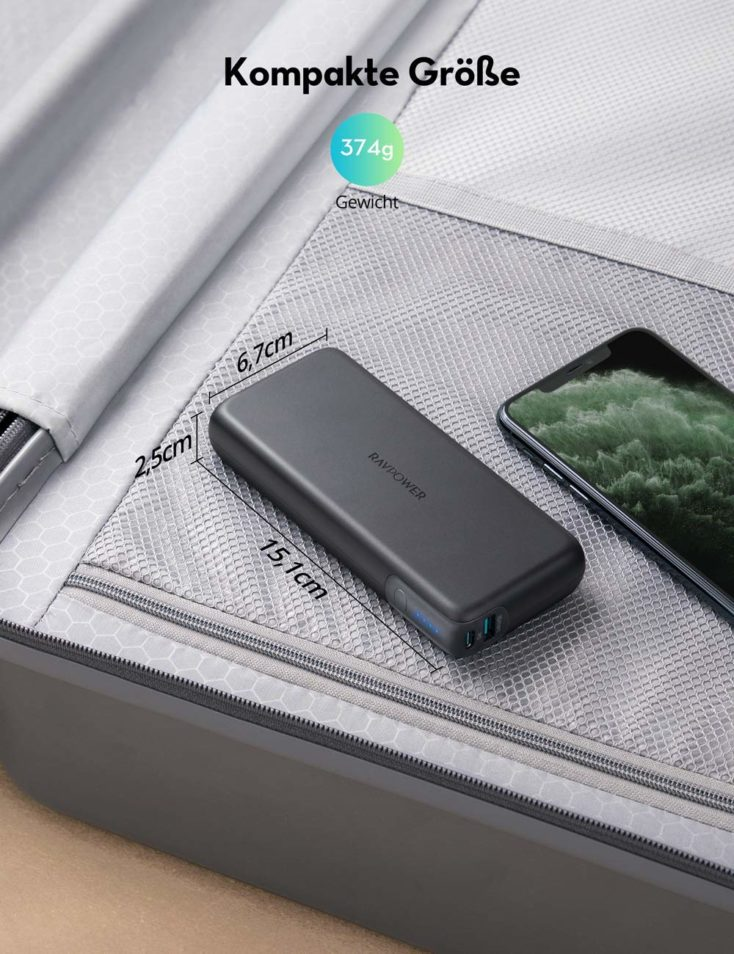 RAVPower USB C Powerbank Abmessungen