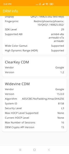 Redmi K30 Widevine Level 3