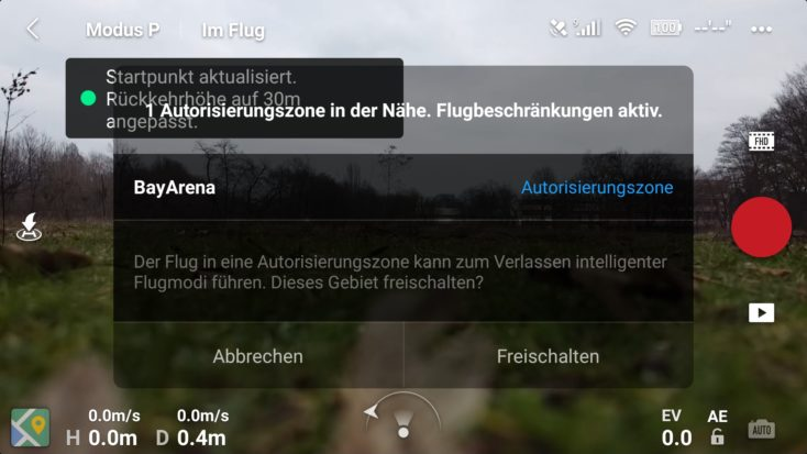 DJI Fly App Autorisierungszone