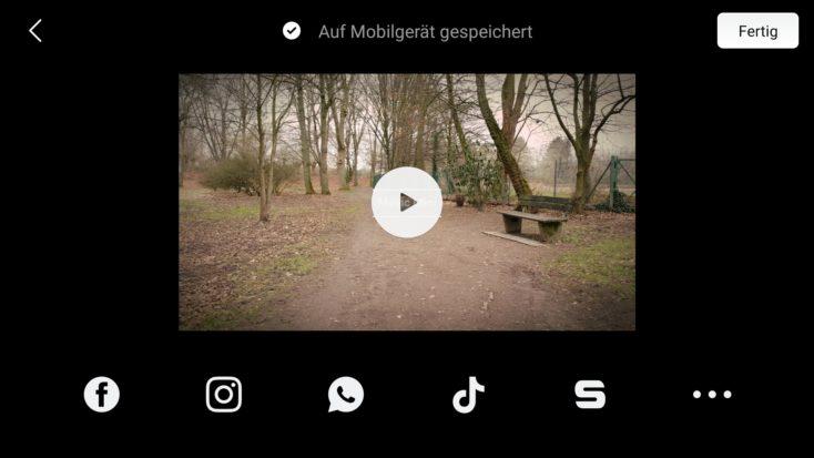 DJI Fly App Videobearbeitung Share