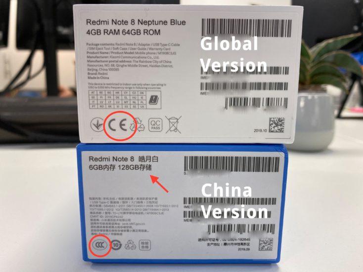 Redmi Note 8 Global Verpackung Box Unterseite