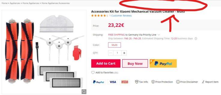 Saugroboter Zubehoer GearBest Shop Original erkennen Xiaomi Roborock