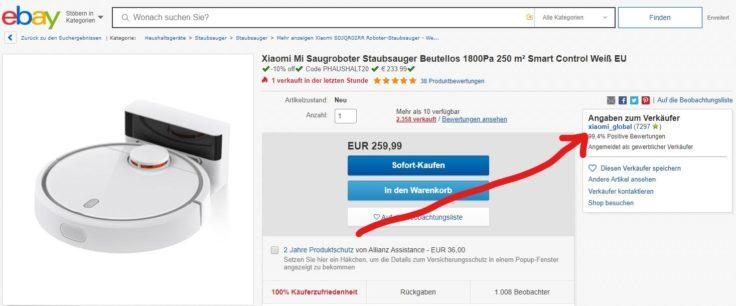 Saugroboter Zubehoer eBay Original Seller offiziell erkennen Global