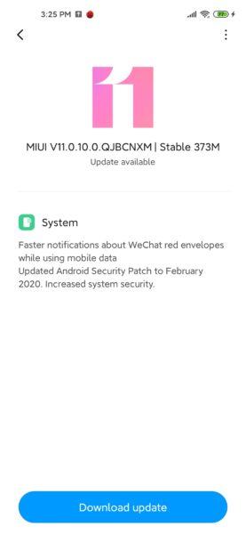Xiaomi Mi 10 MIUI 11