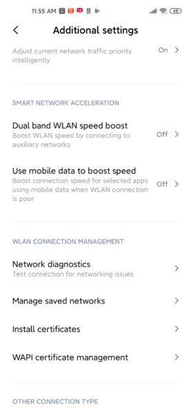 Xiaomi Mi 10 Netwerkeinstellungen