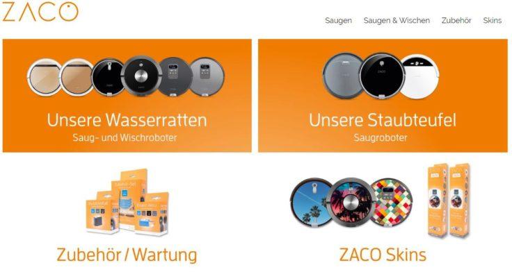 Zaco Shop Saugroboter UEbersicht