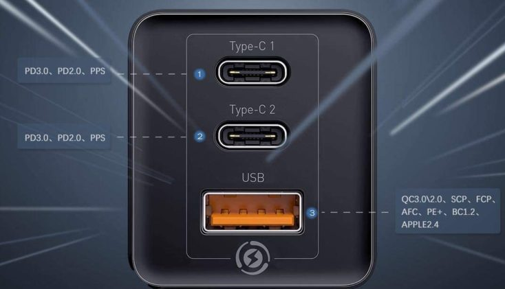 Baseus 65W Lader USB Ports