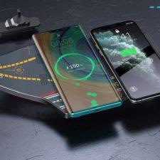 Baseus Ladeträger mit zwei Handys.