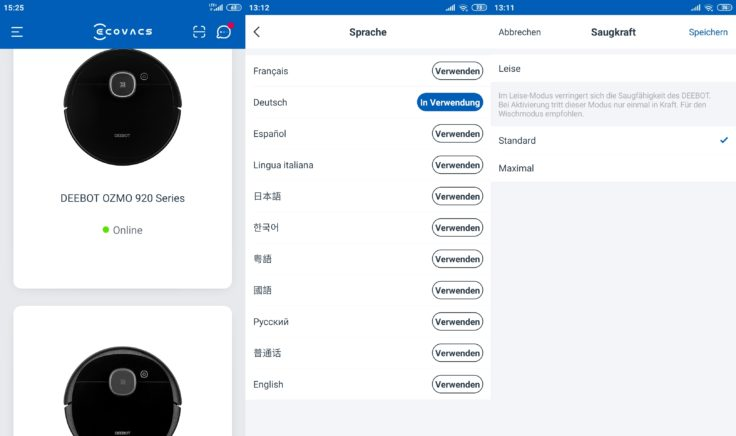 Ecovacs Deebot Ozmo 920 Saugroboter Saugstufen Home App Einstellungen
