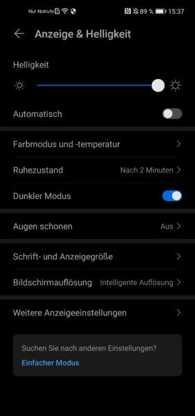 Huawei P40 Lite Displayeinstellungen