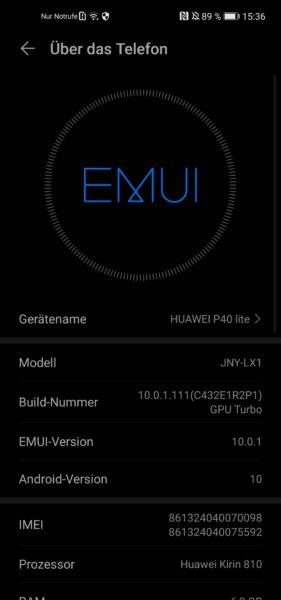 Huawei P40 Lite EMUI Betriebssystem