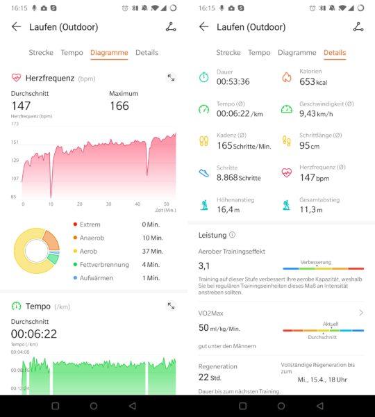 Huawei Watch GT 2e Laufdaten App