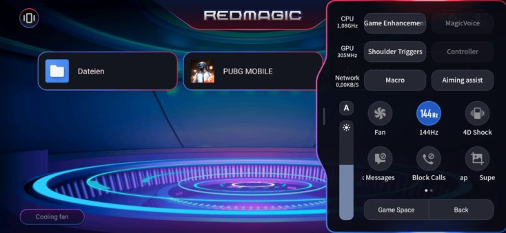 Nubia Red Magic 5G Game Space Schnelleinstellungen
