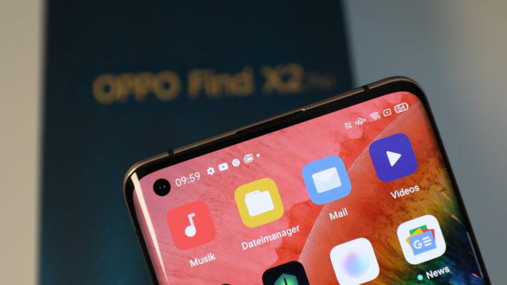Oppo FInd X2 Pro Bildschirmrand