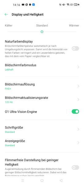 Oppo Find X2 Pro Displayeinstellungen