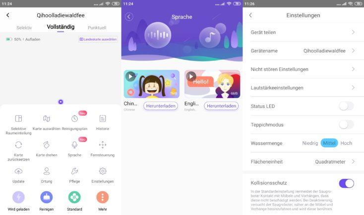 Qihoo 360 S6 Pro Smart Saugroboter App Einstellungen Sprache