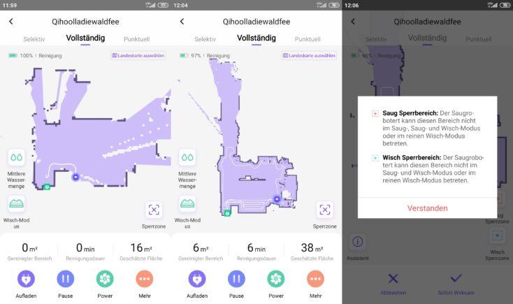 Qihoo 360 S6 Pro Smart Saugroboter App Mapping Beginn Reinigung