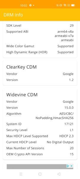 Realme X50 Pro Widevine Level 1 DRM