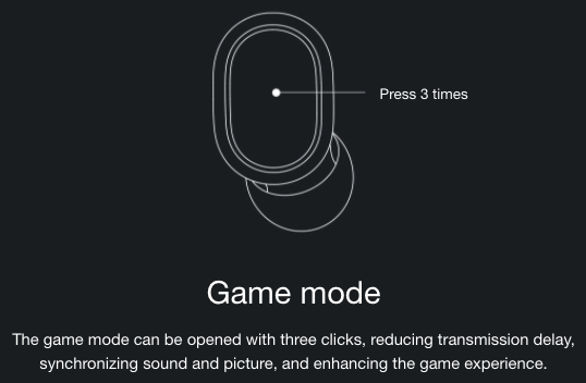 Redmi AirDots S Kopfhoerer Game mode