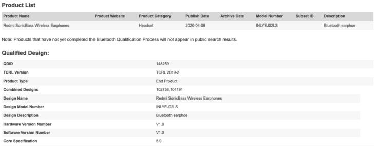 Redmi SonicBass Kopfhoerer Bluetooth Datenbank