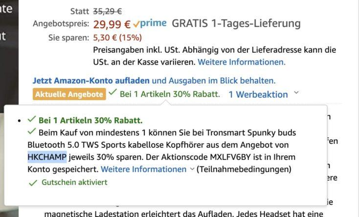 Tronsmart Spunky Buds Gutschein Amazon