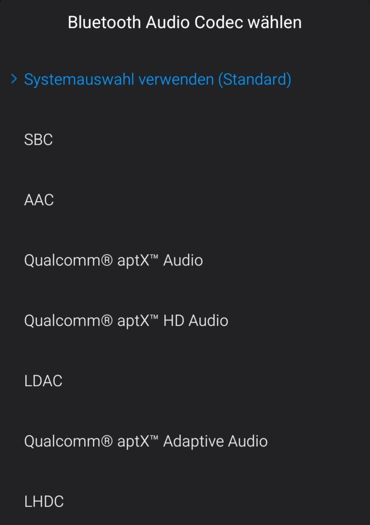 Android-Entwickleroptionen Bluetooth Codec Auswahl