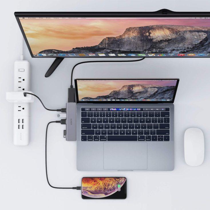 Aukey MacBook Hub Anschlussmoeglichkeiten